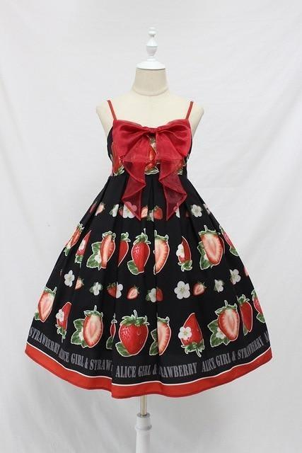 Strawberry Maiden Dress - Black / L - Dress
