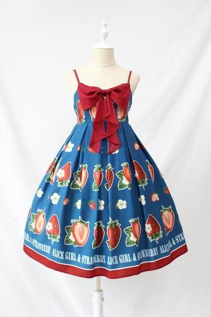 Strawberry Maiden Dress - Blue / L - Dress