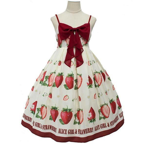 Strawberry Maiden Dress - White / L - Dress