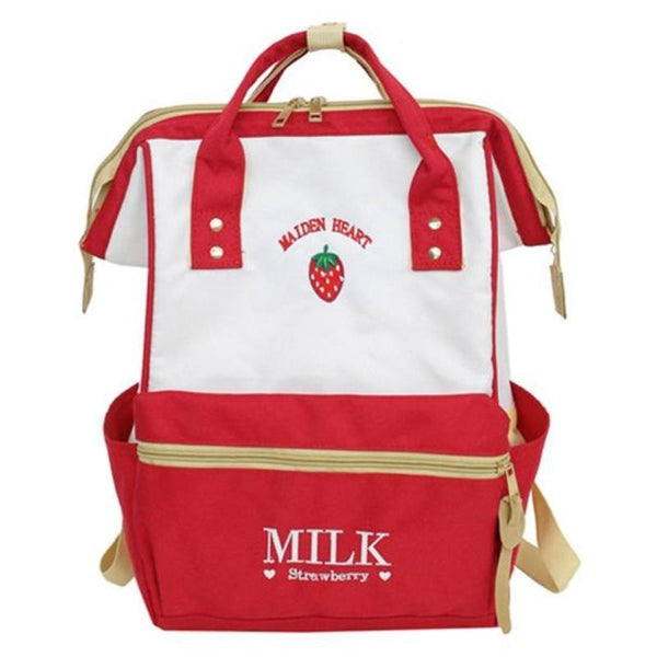Red Strawberry Milk Backpack Book Bag School Knapsack Rucksack Harajuku Japan Fashion