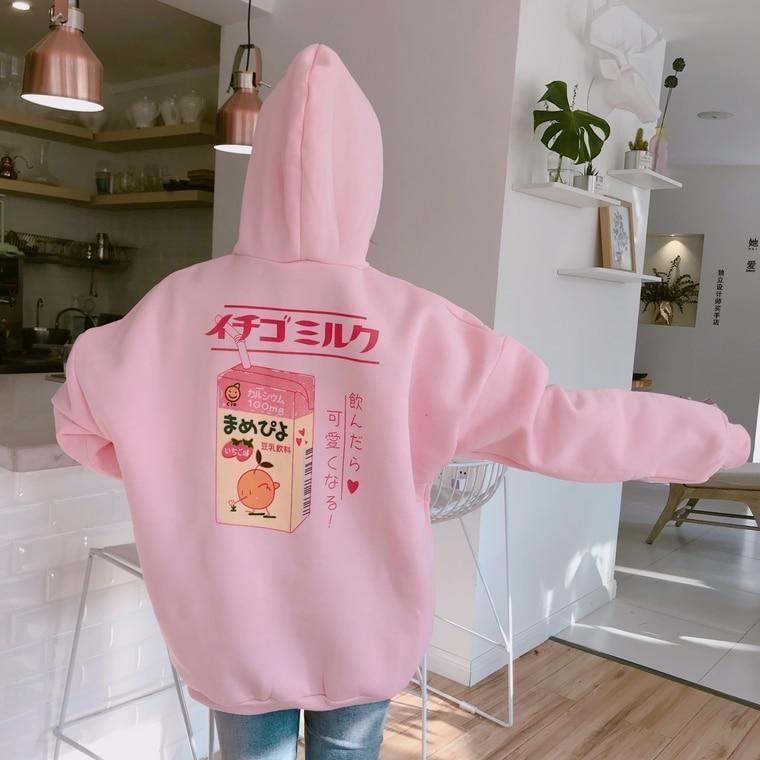 Strawberry Milk Hoodie - Sweater