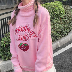 Strawberry Milk Knit Sweater - Pink Sweater - turtleneck