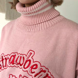 Pink Strawberry Milk Knit Turtleneck Sweater Sweatshirt Cowl High Neck Harajuku Japan Fashion Kawaii