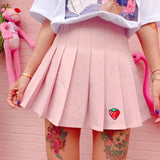 Pink Strawberry Tennis Skirt Pleated School Girl Skirts Harajuku Kawaii Japan Fashion