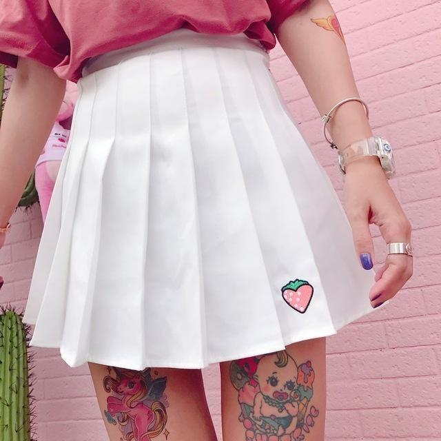 White Strawberry Tennis Skirt Pleated School Girl Skirts Harajuku Kawaii Japan Fashion