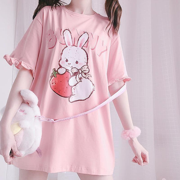 Strawbunny Oversized Tee - bunnies, bunny, bunny rabbit, oversized, shirt