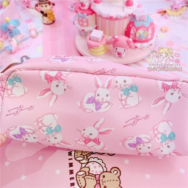 Strawbunny Storage Bag - Pink Bunnies Bag - cosmetic bag