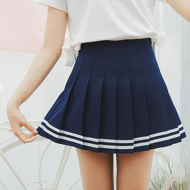 Striped School Girl Tennis Skirt Pleated Blue Cute Kawaii Harajuku Fashion