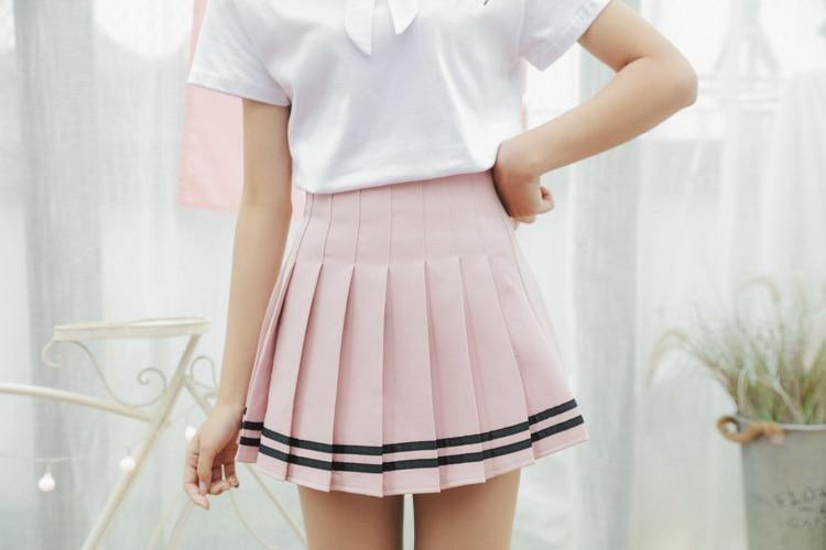 Striped School Girl Tennis Skirt Pleated Pink Cute Kawaii Harajuku Fashion