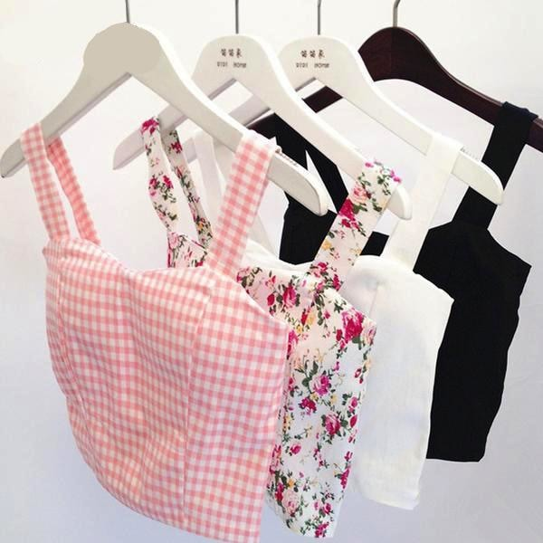 Summer Camisole Crop Top Tank Shirt Belly Plaid Gingham Floral Prints