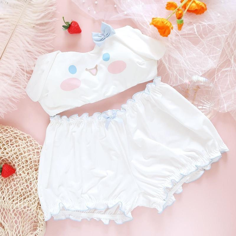 Summer Lovin' Cinnamoroll Set - bloomers, bra and panties, panty, cinnamoroll, dog ears