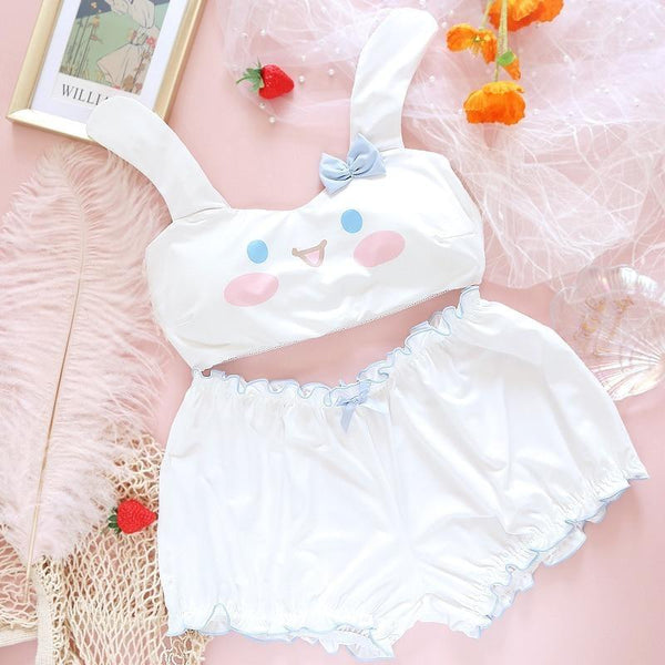Summer Lovin' Cinnamoroll Set - S - bloomers, bra and panties, panty, cinnamoroll, dog ears
