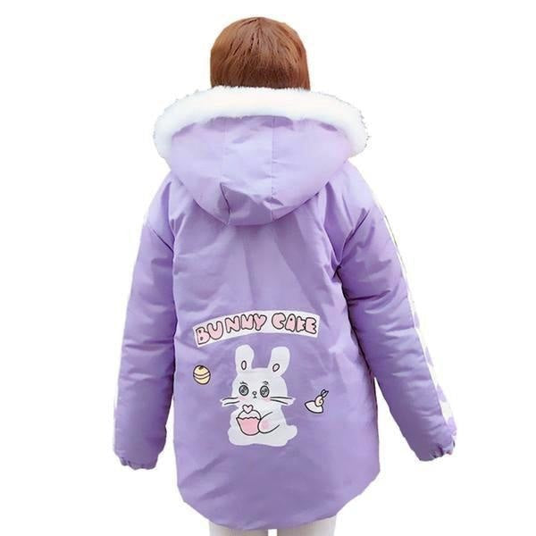 Pastel Purple Bunny Rabbit Cafe Winter Coat Windbreaker Jacket Fairy Kei Kawaii Fashion