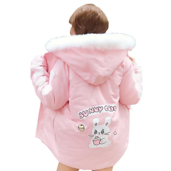 Pastel Pink Bunny Rabbit Cafe Winter Coat Windbreaker Jacket Fairy Kei Kawaii Fashion