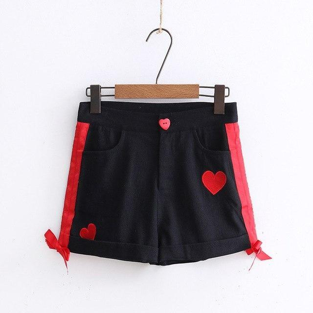 Black Sweet Heart Shorts Embroidered Silk Ribbon Kawaii Fashion Goth