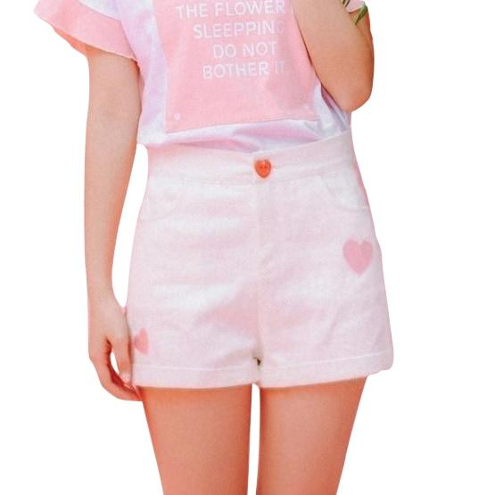 White Sweet Heart Shorts Embroidered Silk Ribbon Kawaii Fashion Fairy Kei