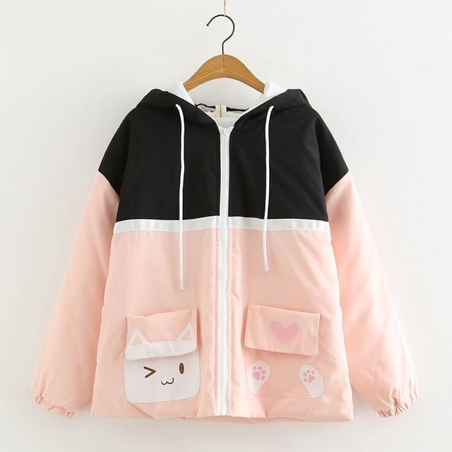 Sweet Kitten Windbreaker - Black/Pink - jacket