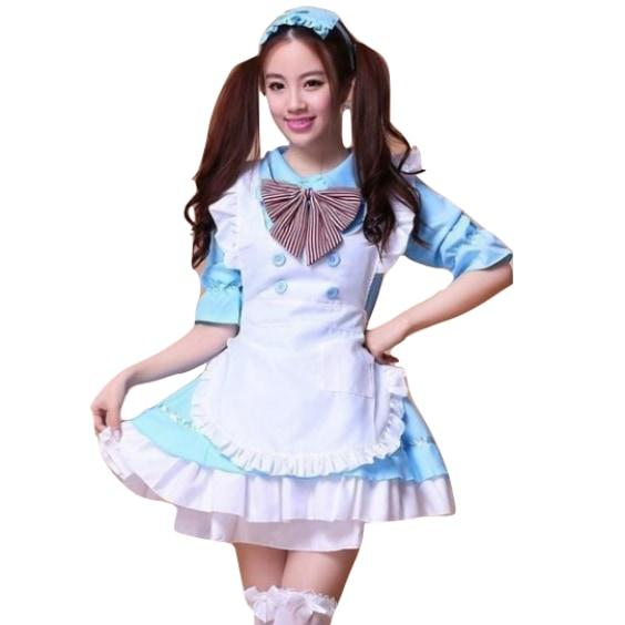 Kawaii French Maid Cosplay Costume Dress Apron Skirt Headpiece Complete Outfit Japan Anime Harajuku Fashion