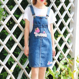 Blue Jean Denim Sweet Strawberry Coveralls Overalls Jumper Dress Jumpsuit Harajuku Kawaii Fashion EGL Fairy Kei Cute