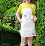White Jean Denim Sweet Strawberry Coveralls Overalls Jumper Dress Jumpsuit Harajuku Kawaii Fashion EGL Fairy Kei Cute