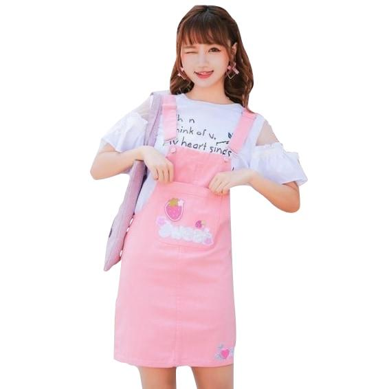 Pink Sweet Strawberry Coveralls Overalls Jumper Dress Jumpsuit Harajuku Kawaii Fashion EGL Fairy Kei Cute