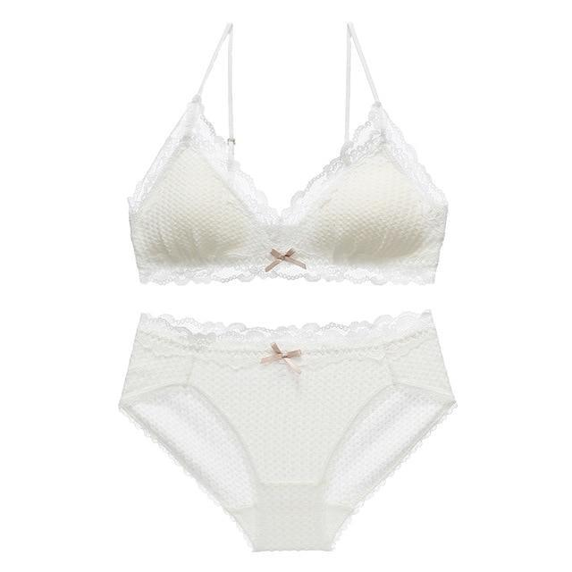 Sweet Valentine Lingerie Set - White Textured / L 75ABC 80AB - lingerie