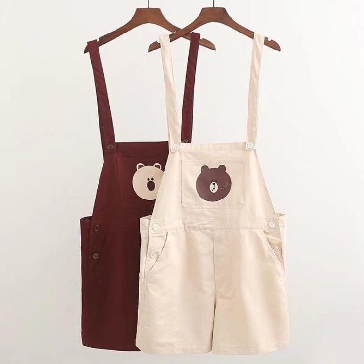brown teddy bear shorts coveralls overalls suspender jumper jumpsuit romper one piece mori girl kawaii fashion age play youthful young cgl dd/lg md/lg kink fetish by ddlg playground