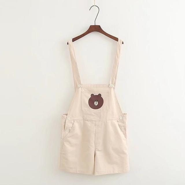 beige white teddy bear shorts coveralls overalls suspender jumper jumpsuit romper one piece mori girl kawaii fashion age play youthful young cgl dd/lg md/lg kink fetish by ddlg playground