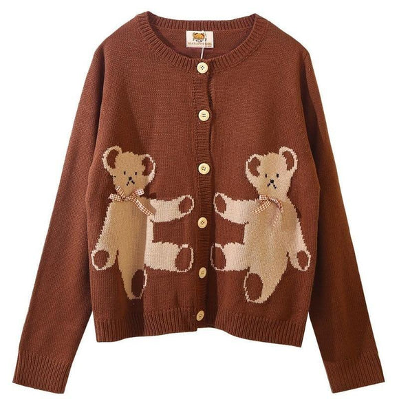 Brown Knit Teddy Bear Button Up Cardigan Sweater Sweatshirt Kawaii Mori Girl Fashion