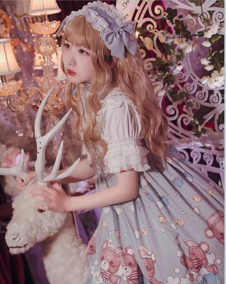 Blue Teddy Bear Sweet Lolita Dress JSK Harajuku Kawaii Fashion