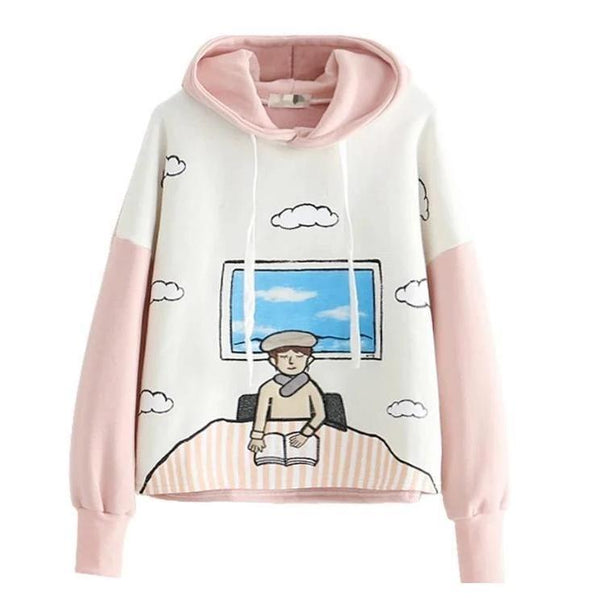 The Book Worm Hoodie - Pink - sweater