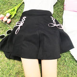 Black Tie Up Ribbon Skirt Pink Princess Kawaii Fashion Harajuku Japan Style Preppy School Girl