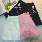 Tie Up Ribbon Skirt Pink Princess Kawaii Fashion Harajuku Japan Style Preppy School Girl