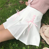 White Tie Up Ribbon Skirt Pink Princess Kawaii Fashion Harajuku Japan Style Preppy School Girl