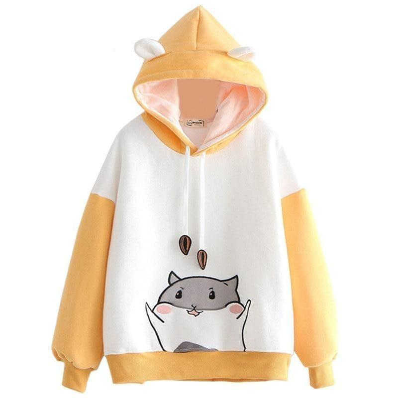 Tiny Hamster Hoodie - Orange - angel cat, cats, fairy kei, fairykei, farm