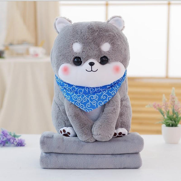 Tiny Pupper Plush & Blanket Set - Dog only 50cm / Gray - plush toy