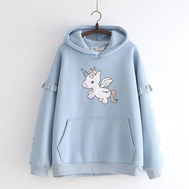 Tiny Unicorn Hoodie - Blue - sweater