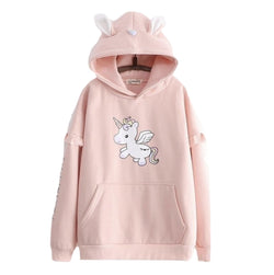 Tiny Unicorn Hoodie - Pink - sweater