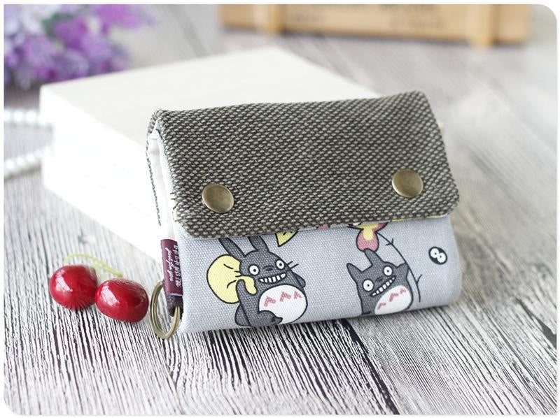 Kawaii My Neighbor Totoro Wallet Burlap Material Umbrella Print Studio Ghibli Anime Manga Fan