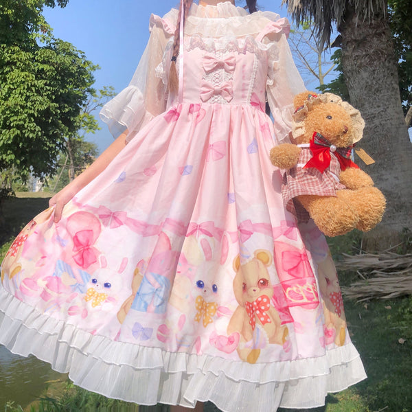 Toy Room Celebration Lolita Dress - Pink - bunnies, bunny, gifts, jsk, jsk dress