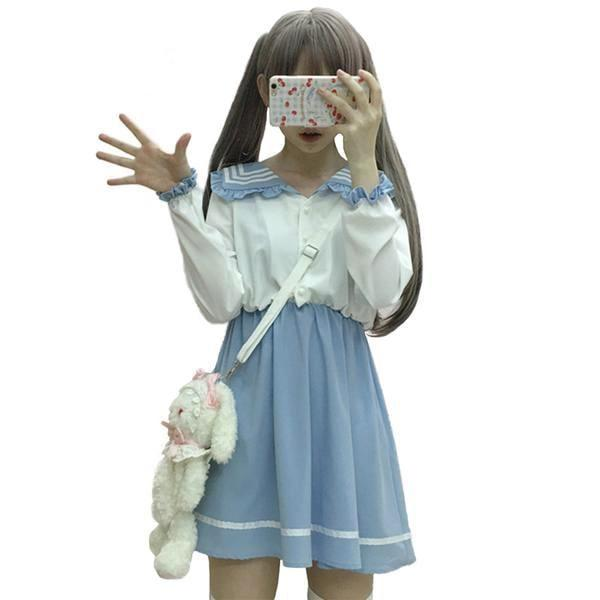 Kawaii Blue White School Girl Dress Japanese Harajuku Kawaii Fashion