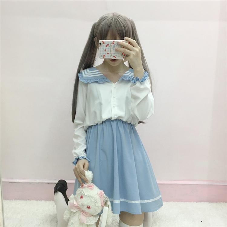Kawaii Blue White School Girl Dress Japanese Harajuku Kawaii Fashion Preppy