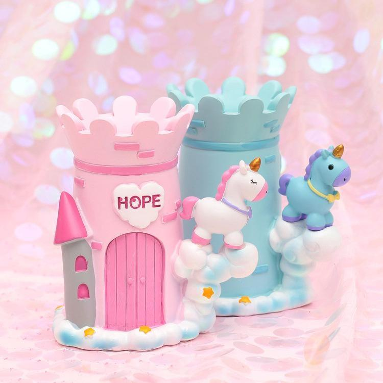 Kawaii Unicorn Castle Pen Holder Pencil Box Storage Desk Organizer Fairy Kei