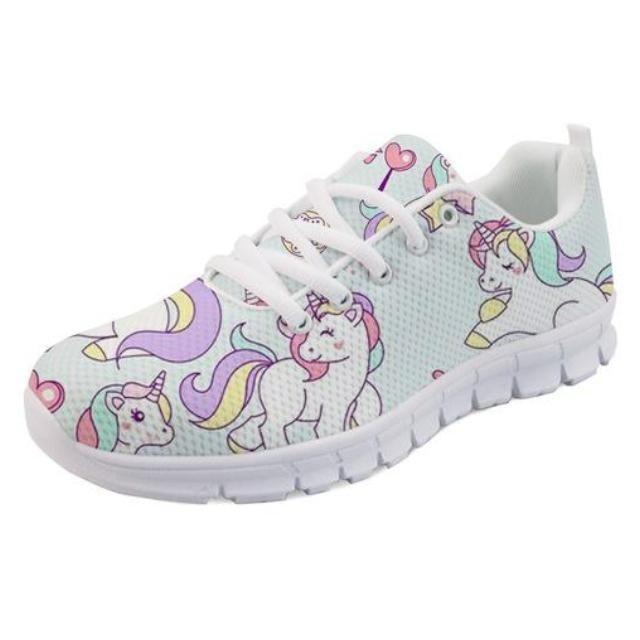 Kawaii Blue Rainbow Unicorn Shoes Sneakers Athletic Footwear Cute Pastel Fairy Kei Style