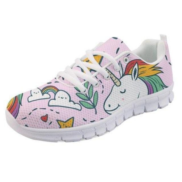 Kawaii Pink Rainbow Unicorn Shoes Sneakers Athletic Footwear Cute Pastel Fairy Kei Style