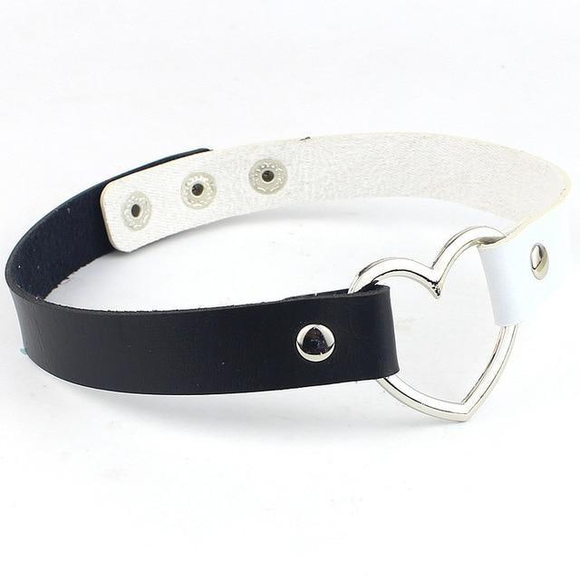Kawaii Black White Heart Choker Collar Vegan Leather Bondage Leash Kink