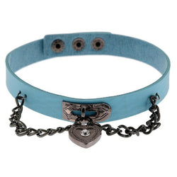 Blue Victorian Goth Locket Collar Choker Necklace Vegan Leather Adjustable Lock & Key