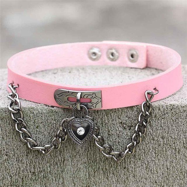 Pink Victorian Goth Locket Collar Choker Necklace Vegan Leather Adjustable Lock & Key