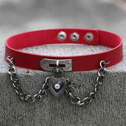 Red Victorian Goth Locket Collar Choker Necklace Vegan Leather Adjustable Lock & Key