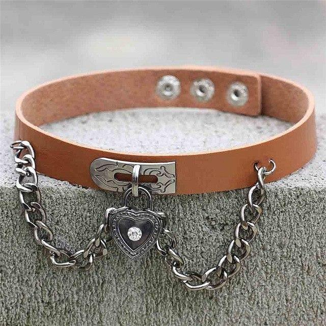 Brown Victorian Goth Locket Collar Choker Necklace Vegan Leather Adjustable Lock & Key